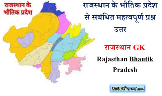 Important Questions for Rajasthan Bhautik Pradesh