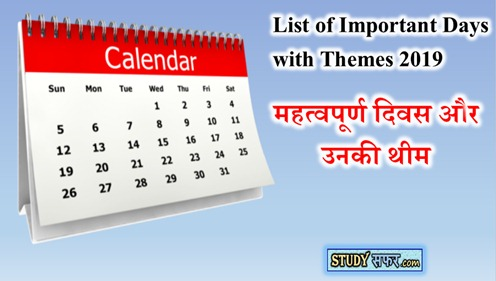 List of Important Days and their Themes 2019