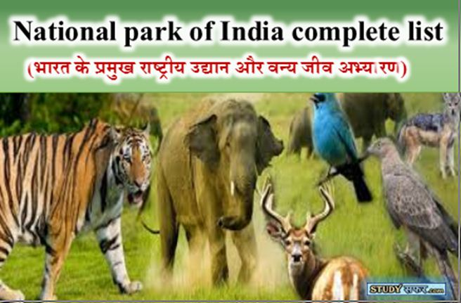 National Park of India State wise list in Hindi