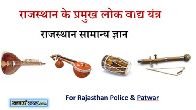 Rajasthan ke Pramukh vadya yantra Important Questions