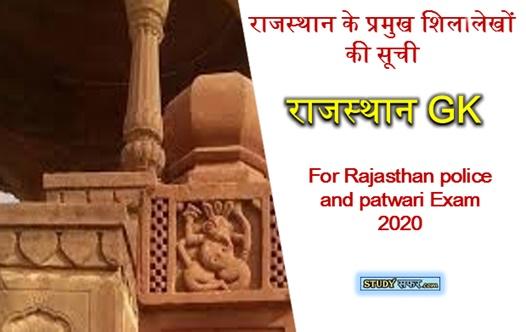 Rajasthan ke Pramukh Shilalekh List in Hindi || Rajasthan GK