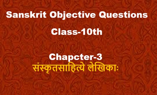MCQ Questions for Class 10 Sanskrit Chapter 3
