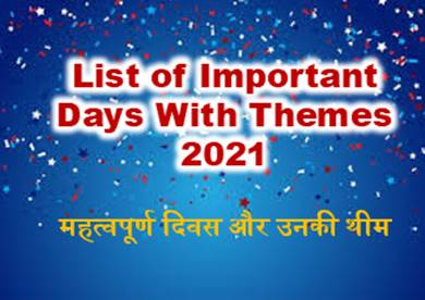 List of Important Days 2021